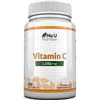 Vitamin C 1000 mg hochdosiert - für Immunsystem & Kollagen - Versorgung für 6 Monate - 180 Tabletten - Nahrungsergänzungsmittel von Nu U Nutrition
