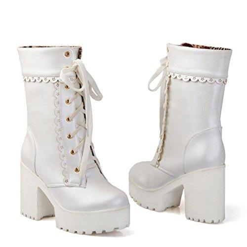 Best 4U® Scarpe Donna PU 8cm Alti Tacchi Alti Sweetie Martin Stivali Piattaforme Pointed-toe Shoeslace Stile Casual white