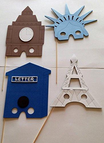4 accesorios de photocall para fiestas, cumpleaños...Torre eiffel, estatua de la libertad, Big Ben