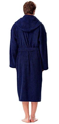 Astra Accappatoio in spugna con cappuccio, per uomo e donna, in spugna di puro cotone con lunghi riccioli (380 g/m²), lunghezza: medio, morbido, bene assorbenza Blu marino