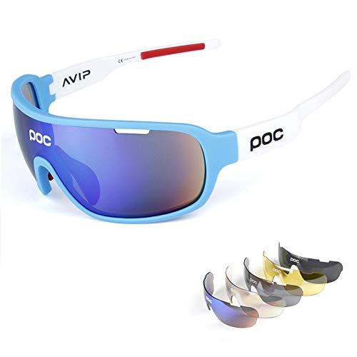 ZllSports Radfahren Poc Sonnenbrille mit Angeln polarisierten Brille für Unisex Kommt mit Outdoor-Sport-Windschutzbrille,5
