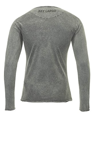 Key Largo Herren Langarmshirt Longsleeve Basic Used Look Grey