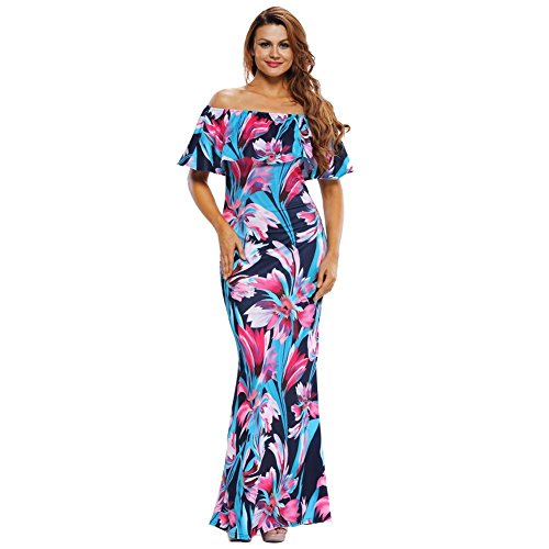DACHUI Women's Casual/Ausgehen Rose/Blumendruck Flouncing spitze ab schulter Maxi Kleid (Halfter Rüschen Höschen)