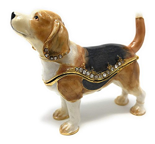 Kubla Crafts emailierten Beagle Schmuckkästchen von, mit österreichischen Kristallen -
