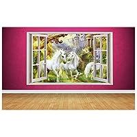 Beautiful Unicorn Window Scene 3D Style Wall Art Sticker (Large: 94cm x 58cm)