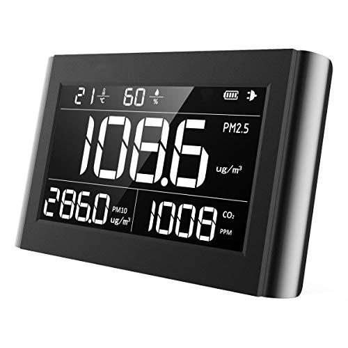 Luftqualität Messgerät-Hydrometer Feuchtigkeit Temperatur und Luftfeuchtigkeitsmesser Feinstaubmessgerät Digitales Detektor CO2 PM2.5 M10 TEMP Tester Thermo Hygrometer 【5 Jahr Garantie】 -