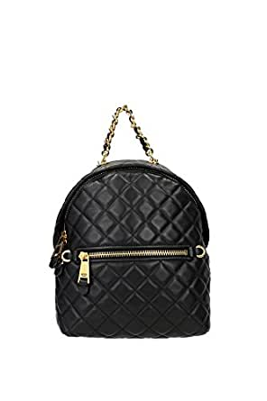 Bags Backpack Moschino Women Leather Black and Gold 2A761380020555 Black 12.5x23x25 cm