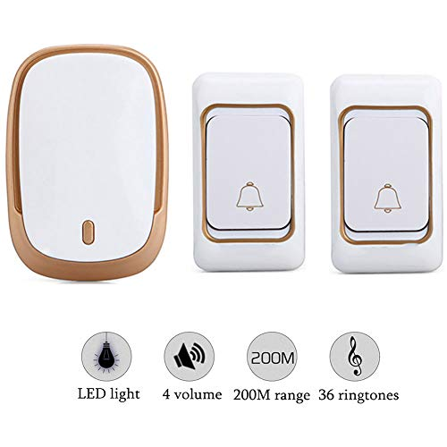 QLPP Drahtloser Doorbell Kit Waterproof Push Button Receiver Portable Door Bell Operating at 656ft 200m Range mit 4 Level Volume 36 Ringtones LED-Indicator,1,2PushButtons2Receivers - Portable Push-button