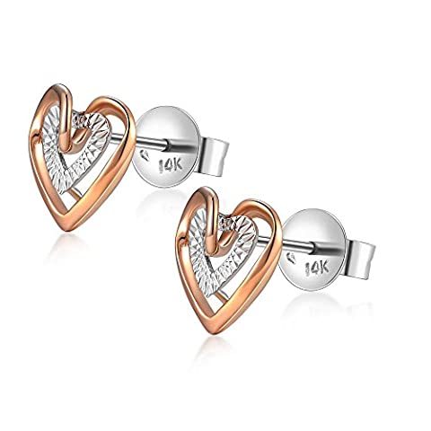 14 Carat 585 Rose White Gold Two Colour Interlocking Diamond-Cut Hearts Stud Earrings, Women Jewellery Birthday Anniversary Wedding Gift - 14k Oro Delle Donne Diamante