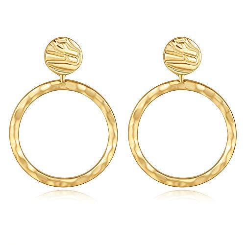 LEVIOLET Damen Ohrringe Gold Creolen Ohrhänger Hängend Große Runde Durchmesser 30mm Nickelfrei Modeschmuck
