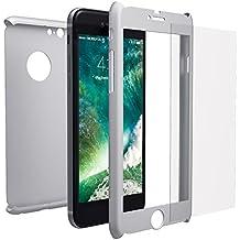 Funda iPhone 6s 360 Integral Para Ambas Caras + Protector de Pantalla de Vidrio Templado, Mobilyos® [ 360 ° ] [ Plata ] Case / Cover / Carcasa para iPhone 6s / 6