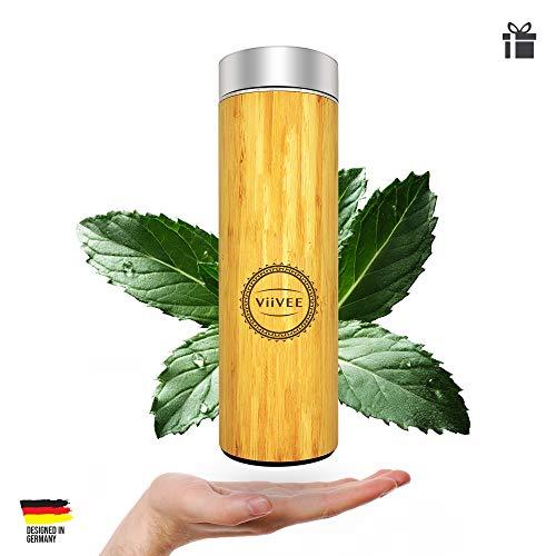 Viivee Life Tea-Bottle 2-Go 480ml Edelstahl-Trinkflasche Bruchsicher Doppelwandig mit Einsatz-Sieb 100% BPA Free (ECHTES BAMBUSHOLZ) (Tee-flasche)