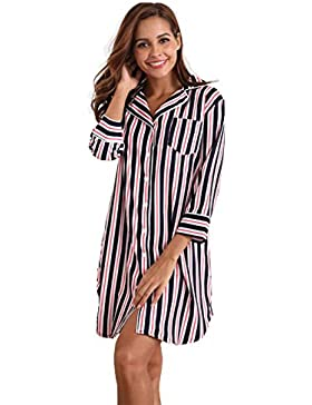 c96e9a6e1b [Sponsorizzato]MEMORY BABY Sexy Pigiama Donna Cotone Camicia Lunga in  Modale con Maniche Corte