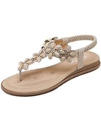 Longra Donne Rilievo piatto di Open Toe Sandals (EU Size:39, Rosso)