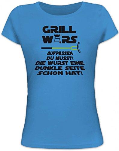 Lustiges Lady / Damenshirt / Frauen T-Shirt von Shirtstreet24 mit Dunkle Seite Grill Wars Aufdruck, Größe: S,blue lagoon (T-shirt Dunklen Womens Lustig)