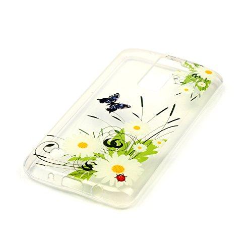 iPhone 5C Hülle Transparent Weiche Silikon Schutzhülle,Weicher Flexibel Klar Gel Silikon TPU Hülle Superdünn Stoßfest Tasche Telefon-Kasten Schutz Tasche Schutzhülle Durchsichtig Handyhülle Silikon Ca Schmetterling Gänseblümchen