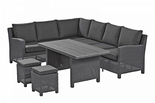 kettler lounge gruppe palma casual dining set aus hochwertigem polyrattan in grau ca 210 x 260. Black Bedroom Furniture Sets. Home Design Ideas