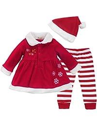 CHICTRY Disfraz Navidad Bebe Conjuntos 3Pcs Ropa Otoño Vestido Fiesta Manga Larga + Pantalones Rayado+ Gorro de Navidad Chaqueta Invierno para Bebé Niña