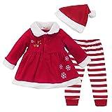 CHICTRY Disfraz Navidad Bebe Conjuntos 3Pcs Ropa Otoño Vestido Fiesta Manga Larga + Pantalones Rayado+ Gorro de Navidad Chaqueta Invierno para Bebé Niña Rojo 18-24Meses