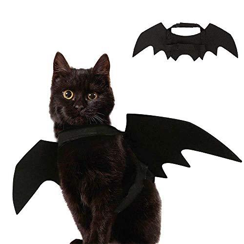 YING Halloween Haustier Fledermaus Flügel Kostüm für Katzen, Hund, Katze, Kätzchen, Flügel, Kostüm für Halloween, Schwarz (Schwarze Kätzchen Kostüm)