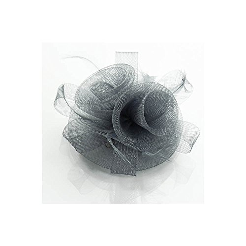 LeahWard Klein Größe Elegante Fascinator Hairclip Veil Hat Feather Mesh Hochzeit Races Qualität Comb / Clip CWHA004 CWH0090-Grau