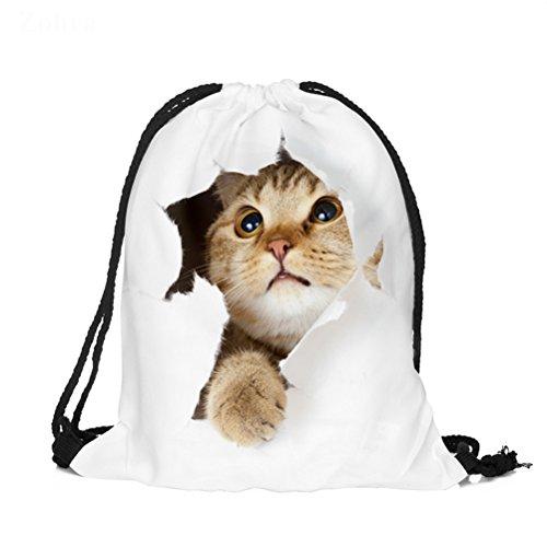 BESTOYARD 3D Printing Drawstring Backpack for Women (Broken Pocket Cat)