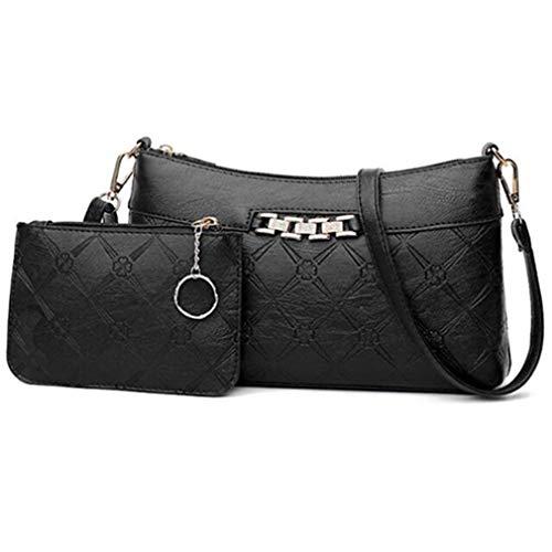 Ledertasche Set Umhängetasche Schulter Messenger Bags Black 26X6X15.5cm
