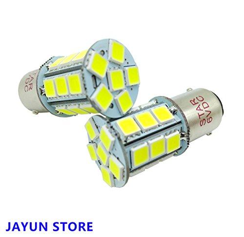 JAYUN 2 × BA15D 6V 1142 1076 1158 1178 LED Autolampen, Super Bright 24-SMD 5050 Ersatz für Marine Boot RV Camper Motorrad Anhänger Innenbeleuchtung, Weiß 6000K
