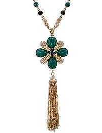 a3c6389293bd Joyería Elegante Bohemio Hecho a Mano de Flores de Resina de Las Mujeres de  Cristal Larga Borla Colgante Turquesa Perlas Collar Collar…