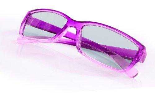 SJ3D Passive 3D Brille für Kinder – Lila / Transparent - Polfilterbrille zirkular polarisiert - Für RealD 3D Kino & TV: LG Cinema 3D Philips Easy 3D Telefunken Toshiba 3D Natural Vizio 3D und 3DTVs von SONY Grundig Panasonic Hisense CMX uvm. - Inkl. Mikrofaser Brillenbeutel und Putztuch
