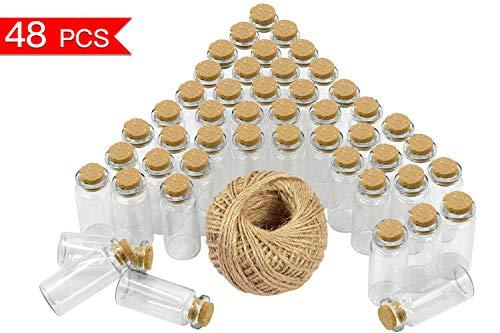 0ml (5cm x 2cm) Mini Glasflaschen Klein Glasfläschchen mit Korken und 30 Meter Bindfaden Nachricht Flaschen für Öle oder Gewürze ()