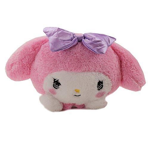 GlamXtensions Plüschtier Kissen Rosa Pink Puppe Plüschtier Katze Hello Kitty Friends by My Melody - Gr: 30 x 20 cm mit süßer lila Schleife (Plüsch Kitty Spielzeug Hello Puppe)
