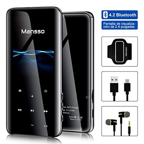 Reproductor de MP3 Bluetooth Reproductor de Música Deporte con Pantalla TFT de 2.4 Pulgadas Botón Táctil, 4.2 Portátil Grabación FM Radio, Soporte hasta 128GB