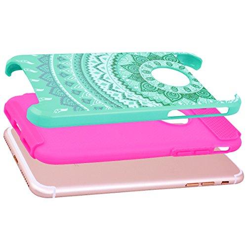 GrandEver iPhone 7 Plus Hülle Weiche Silikon Handyhülle PC & TPU Bumper 2 in 1 Schutzhülle Schutzhülle für iPhone 7 Plus Rückschale Anti-Kratzer Stoßdämpfung Ultra Slim Rückseite Silicon Backcover Sof Minze Grün Weiß/Rose Rot