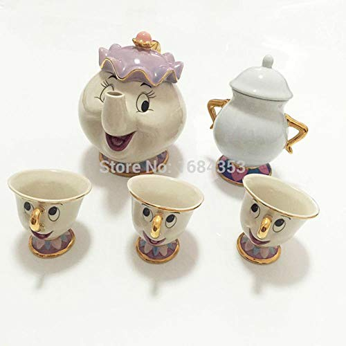 Gold-plated Cup (HHOME chip Tea Pot Cup Set Sugar Bowl Pot Gift 18k Gold-Plated Painted Ceramic Fast Post teapot Mug,7)