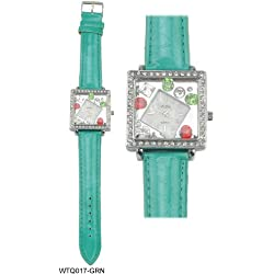 Squared Shaped Diamante Encrusted Bezel with Bejewelled Shaped Face Ladies Watch with Blue Strap