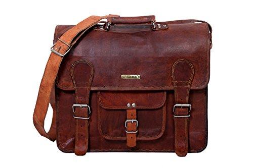 Urbankrafted Handgefertigte 16 Zoll echtes Leder Laptop Messenger Bag