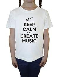 Keep Calm And Create Music Blanco Algodón Niña Niños Camiseta Manga Corta Cuello Redondo Mangas White Girls Kids T-shirt