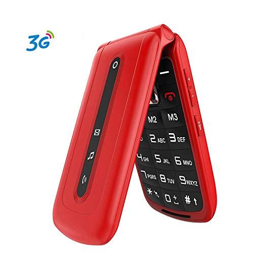 3G Seniorenhandy Klapphandy mit großen Tasten Ohne Vertrag, 2.4 Zoll Display Mobiltelefon Mit SOS Notruf-Knopf (Dual-SIM) Rot