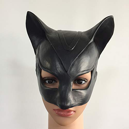 Cosplay Kostüm Cat Black - XIAO RUI Catwoman Maske Halloween Sexy Black Cat Teufel Latex Kopf Maske Batman Maske Cosplay Spaß Lustige Kostüm Maske, Einheitsgrösse
