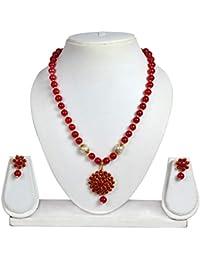 Crazance Pachchikam Jaipuri Red Beads Jewellery Set For Women