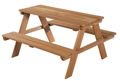 roba Kinder Outdoor + Sitzgruppe 'Picknick for 4', wetterfeste Sitzgarnitur für drinnen und draußen aus Massivholz in Teakholz-Optik, besonders stabil und langlebig -