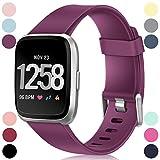 HUMENN Bracelet pour Fitbit Versa/Fitbit Versa Lite, Bande en TPU Silicone Souple de Remplacement Ajustable Sport Accessorie pour Fitbit Versa Montre Wristband Petit Fushia