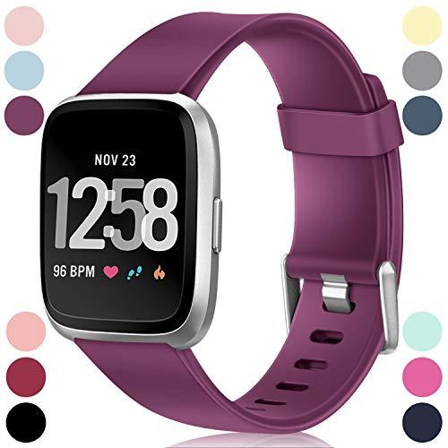 HUMENN Armband Für Fitbit Versa/Fitbit Versa 2, Classic Weiches TPU Sports Ersetzerband Verstellbares Zubehör Uhrenarmband für Fitbit Versa/Versa Lite Edition/Versa 2, Klein Fushia