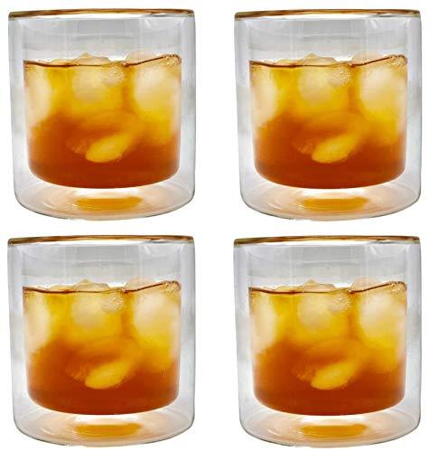 Double Old Fashioned, Scotch-gläser (CoolZest Double Old Fashioned Whiskeyglas 227 ml kurze Gläser doppelwandig isoliert Weingläser Modern Allzweckbecher Becher (4er Set))