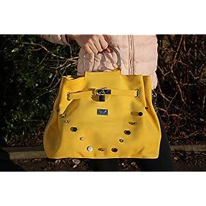 gelb beige Lederhandtasche Handtasche Damentasche mit Metallgriffen