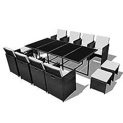 vidaXL Garten-Essgruppe 8 Stühle 4 Hocker Schwarz Poly Rattan