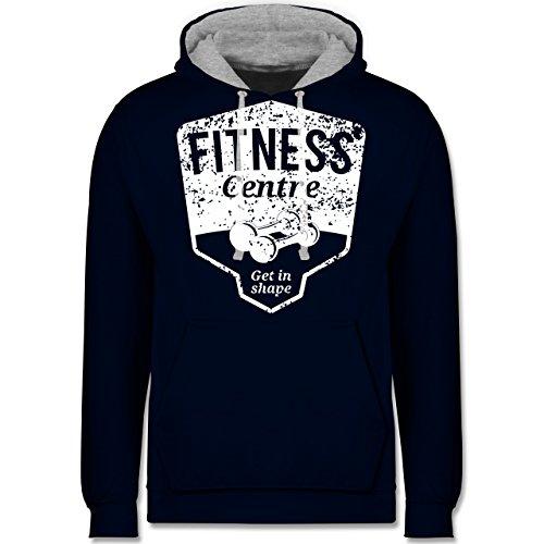 CrossFit & Workout - Fitness Centre - Kontrast Hoodie Dunkelblau/Grau  meliert