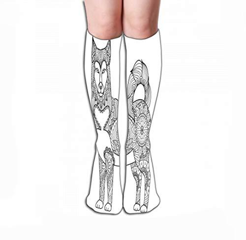 Xunulyn Hohe Socken Men Women Outdoor Sports High Socks Stocking Alaskan Malamute Dog line Art Design Design Coloring Book Adult Stock Tile Length 19.7
