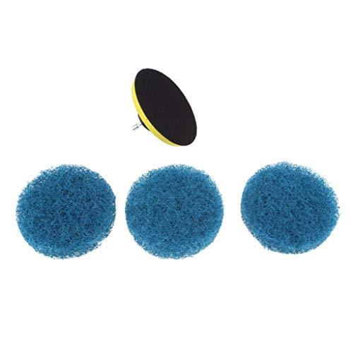 FLAMEER Bürstenkopf Reinigungswerkzeug Power Scrubber Reinigungsbürste Tub Cleaner für Elektrische Bohrmaschine, 100 cm Durchmesser - mit 3 Pads Blau
